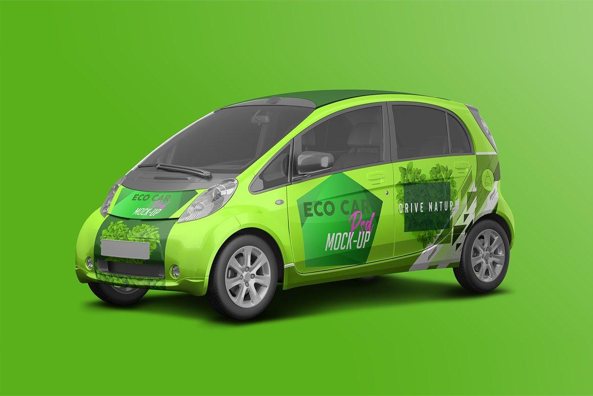 逼真电动小汽车车身广告设计PSD样机 Realistic Electric Car PSD Mockup插图