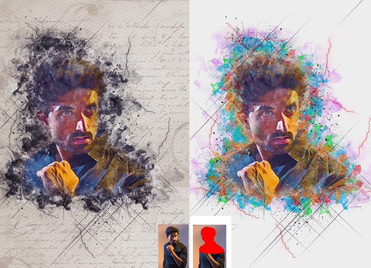 逼真水彩混合艺术效果照片处理滤镜PS动作模板 Mixed Media Art Photoshop Action插图1