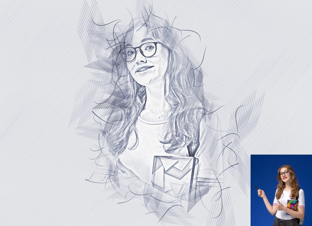 铅笔手绘素描效果照片处理特效PS动作模板 Hand Drawing Sketch Photoshop Action插图1