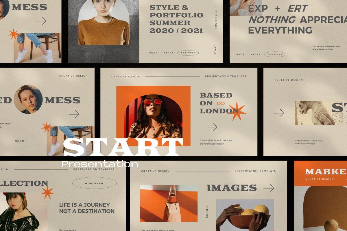 时尚创意服装潮牌品牌提案简报演示文稿设计模板 Start – Creative Agency Powerpoint插图