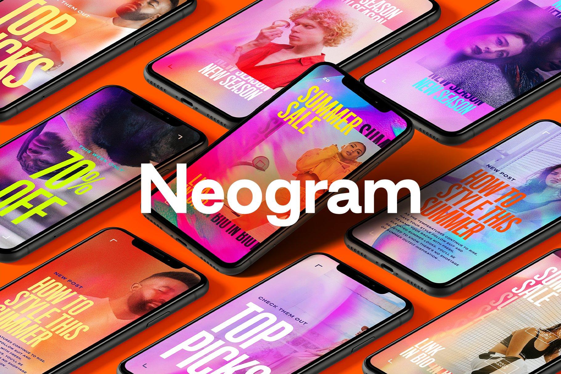 [单独购买] 潮流霓虹效果品牌推广新媒体电商海报设计模板PS素材 Neogram – Neon Instagram Stories插图