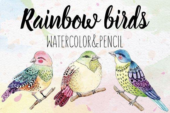 500多款可爱卡通动物花卉手绘水彩画设计素材 500+ENTIRE SHOP BUNDLE Watercolors插图12