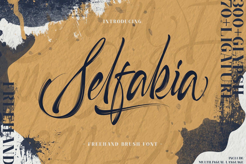 毛笔笔触品牌海报徽标Logo手写英文字体素材 Selfakia Brush Font插图