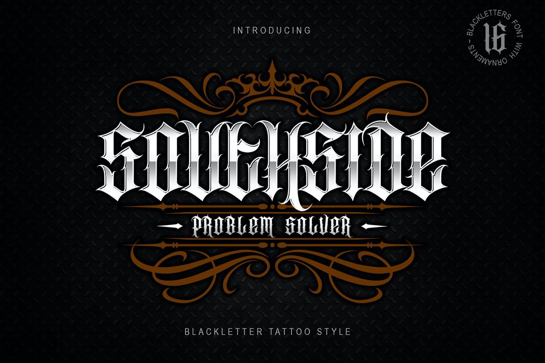 时尚复古哥特式品牌纹身徽标Logo装饰英文字体 Southside Extra Bonus插图