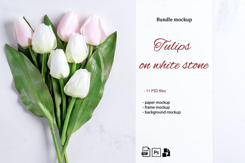 11个优雅婚礼印刷品场景样机PSD模板素材 Tulips Scene Mockup On Stone插图