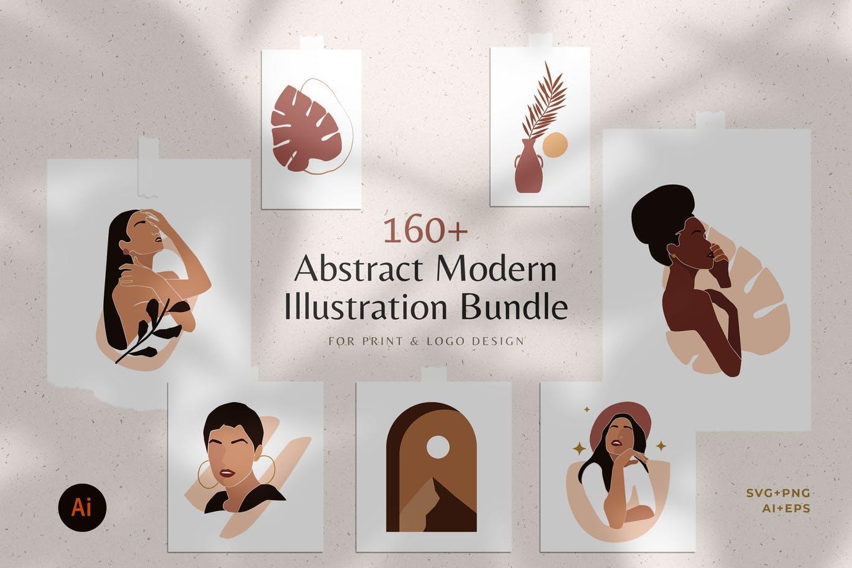 160多款现代抽象女性插图几何图案矢量设计素材 Modern Abstract Illustrations插图