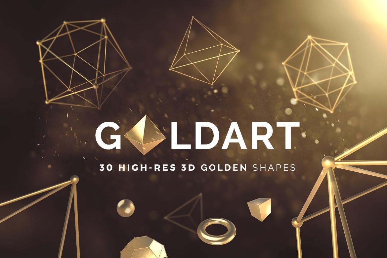 35款抽象金色3D几何图形背景图片PS设计素材 3D Golden Shapes Volume 1插图