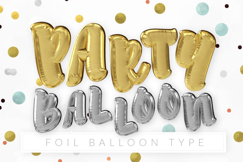 逼真铝箔气球文字海报设计PS样式模板素材 Foil Balloon Type插图