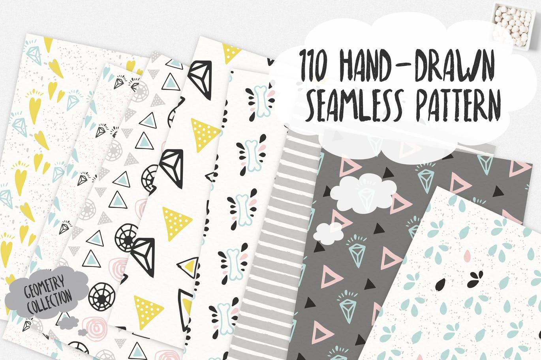 110个无缝隙几何装饰图案矢量设计素材 110 Hand-Drawn Seamless Patterns插图