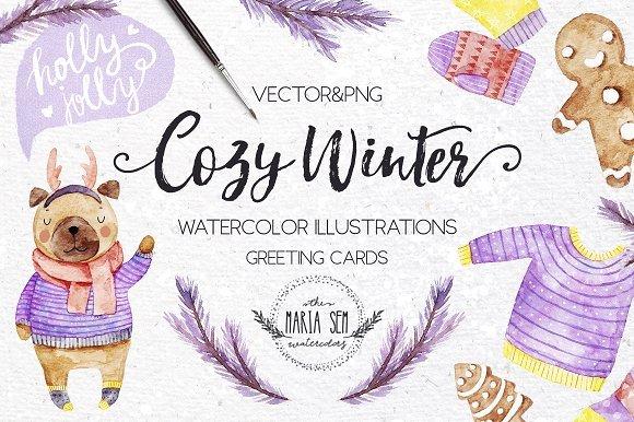 500多款可爱卡通动物花卉手绘水彩画设计素材 500+ENTIRE SHOP BUNDLE Watercolors插图2