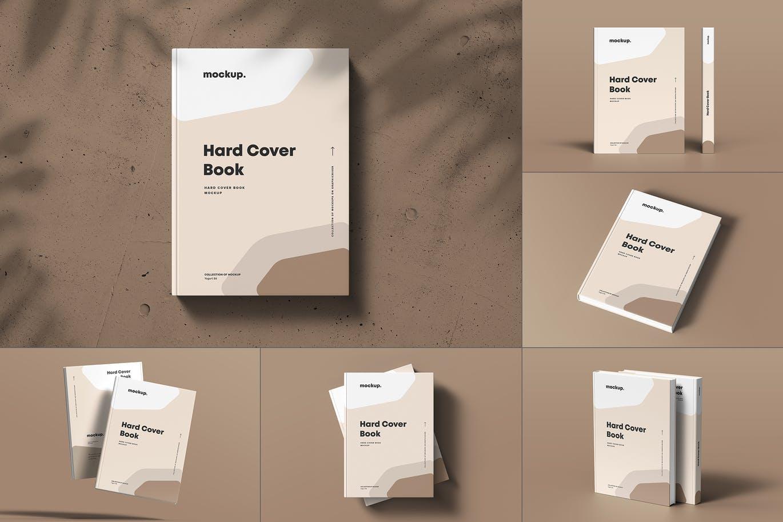 8款精装书封面设计展示贴图样机模板素材 Hard Cover Book Mock-up插图