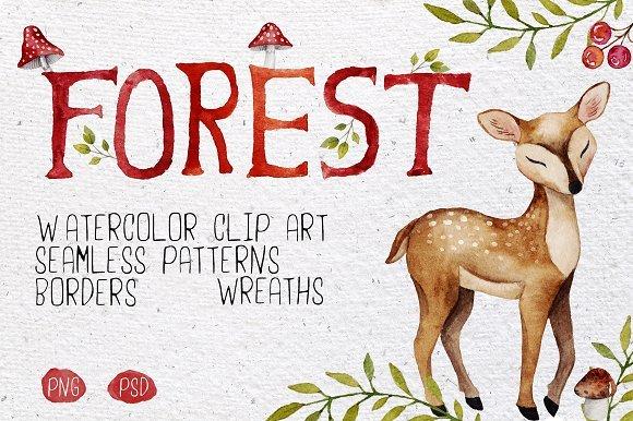 500多款可爱卡通动物花卉手绘水彩画设计素材 500+ENTIRE SHOP BUNDLE Watercolors插图3