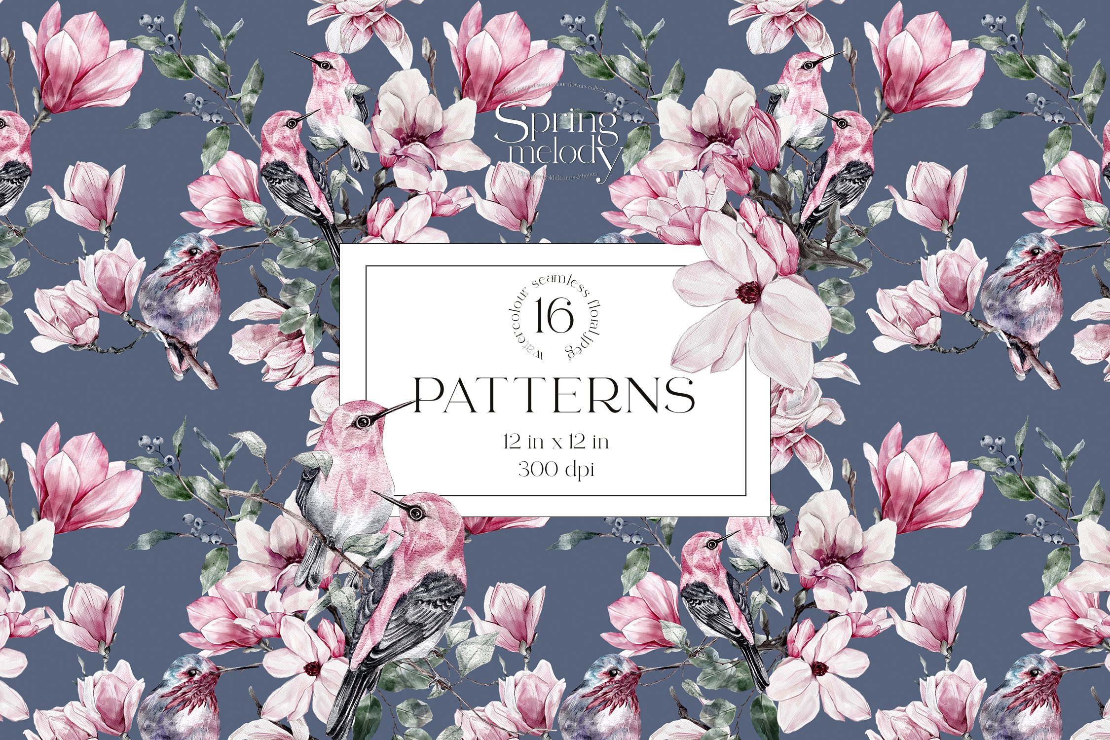 16款春天叶子花卉小鸟手绘水彩画图片设计素材 Spring Watercolor Seamless Patterns插图