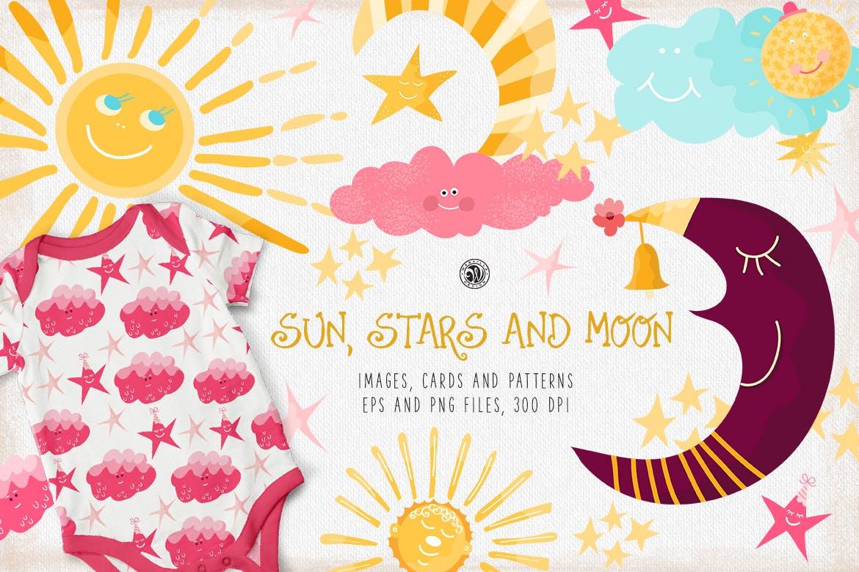 卡通太阳月亮星星印花图案设计矢量素材 Sun Stars and Moon插图1