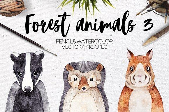 500多款可爱卡通动物花卉手绘水彩画设计素材 500+ENTIRE SHOP BUNDLE Watercolors插图4