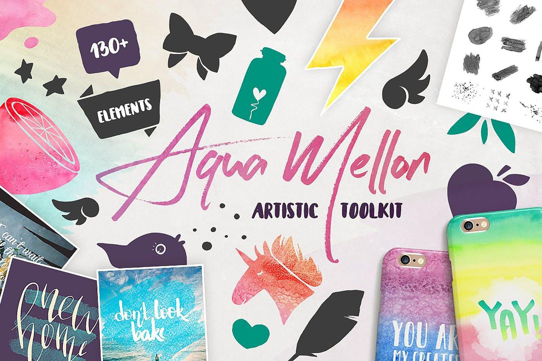 可爱平面广告服装印花图案设计矢量设计素材套装 Aqua Mellon Artistic Toolkit插图