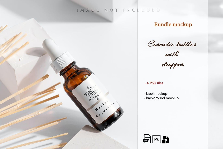 6款药物化妆品滴管瓶设计展示贴图样机合集 Dropper Bottle Mockup Set插图