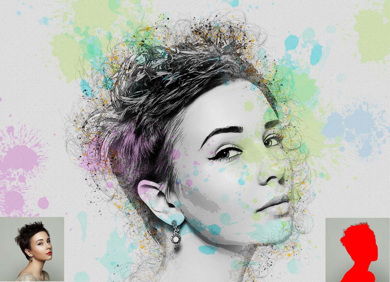 抽象铅笔素描效果照片处理特效PS动作模板 Abstract Sketch Photoshop Action插图1