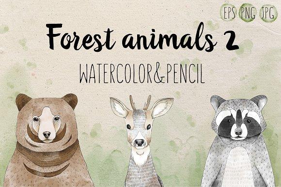 500多款可爱卡通动物花卉手绘水彩画设计素材 500+ENTIRE SHOP BUNDLE Watercolors插图7