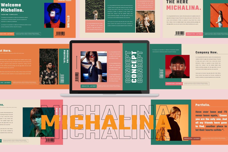 潮流撞色服装作品集演示文稿设计模板素材 MICHALINA Powerpoint Template插图
