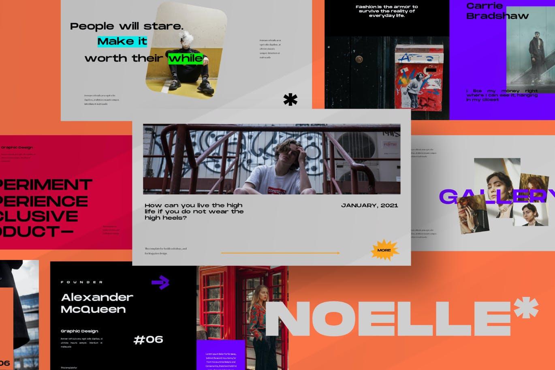 潮流炫彩服装作品集演示文稿设计模板 Noelle Powerpoint Template插图