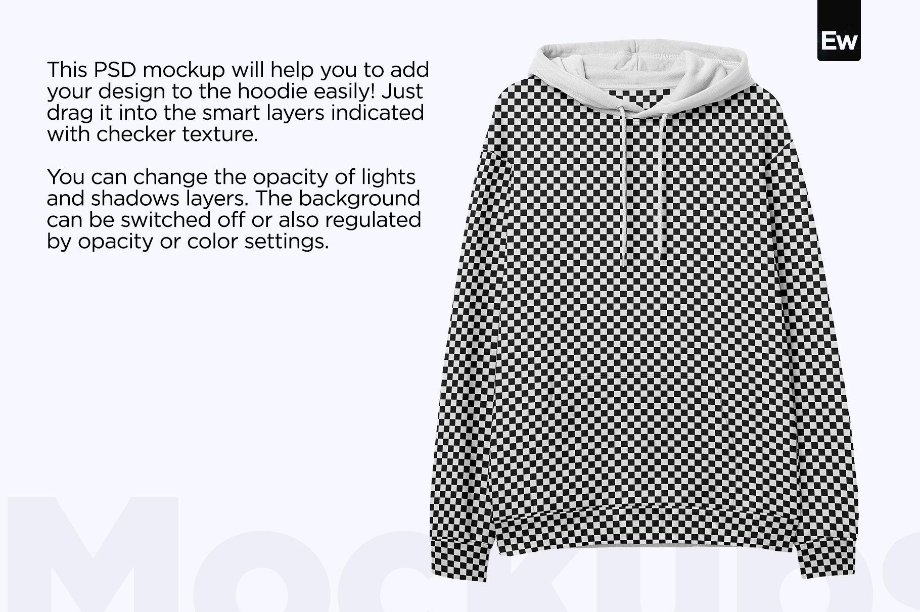 简约连衣帽卫衣印花图案设计展示样机PSD模板 Hooded Sweatshirt PSD Mockup插图1
