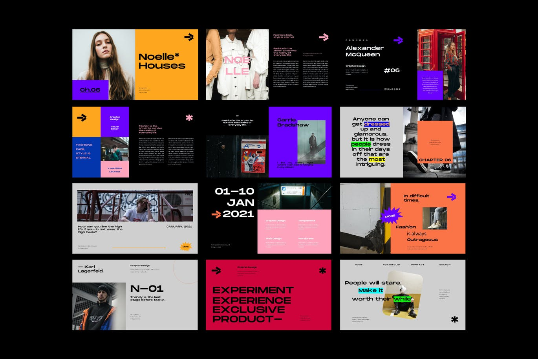 潮流炫彩服装作品集演示文稿设计模板 Noelle Powerpoint Template插图9
