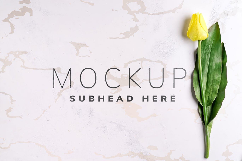 11个优雅婚礼印刷品场景样机PSD模板素材 Tulips Scene Mockup On Stone插图3