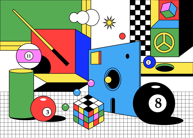 [单独购买] 13款潮流炫彩复古撞色孟菲斯几何插图插画AI设计素材 Colorful Memphis Vector Material插图5