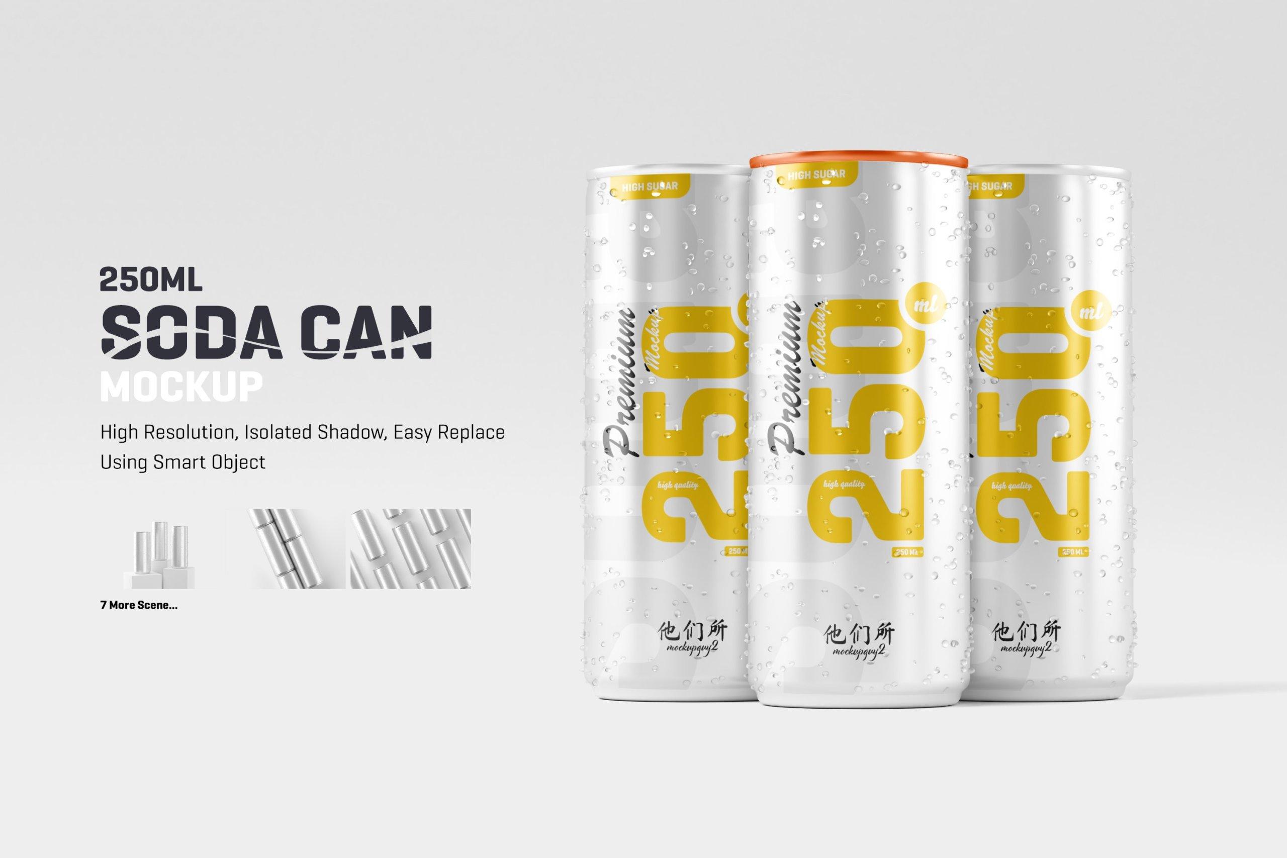 10款250ml啤酒饮料苏打水锡罐易拉罐设计展示样机 250ml Soda Can Mockup插图