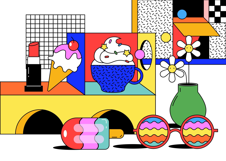 [单独购买] 13款潮流炫彩复古撞色孟菲斯几何插图插画AI设计素材 Colorful Memphis Vector Material插图6