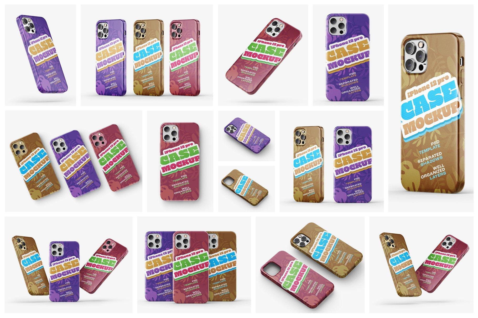 14款iPhone 12 Pro手机壳外观设计展示样机合集 iPhone 12 Pro Case Mockup Set插图1