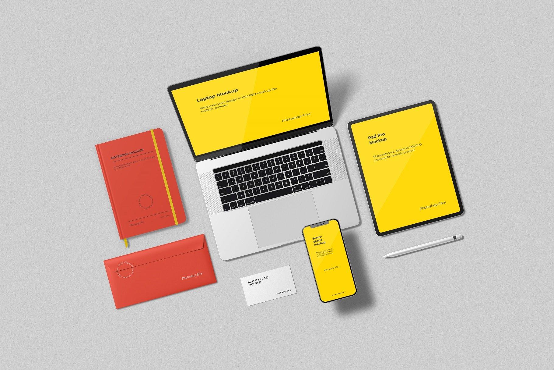 12个时尚简约品牌Logo设计办公用品展示贴图样机模板套装 Branding Mockup Scene Creator插图11