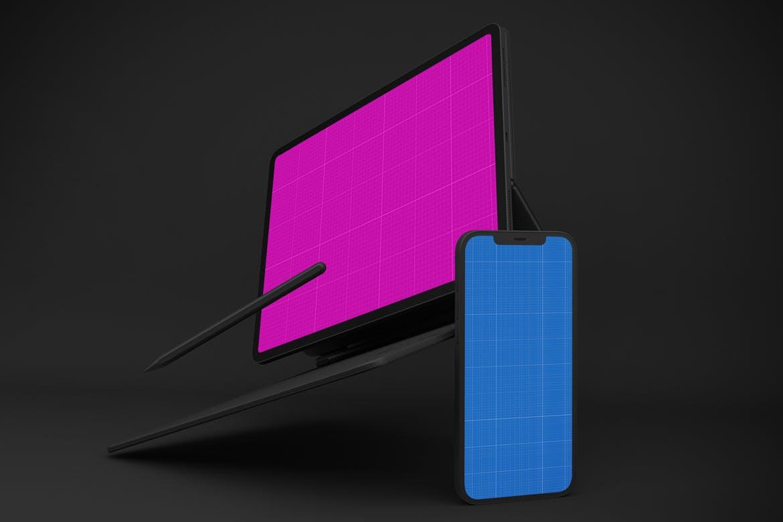 深色iPhone 12和Apple iPad屏幕演示样机模板 Watch Dark iPhone 12 & Apple IPAD插图11