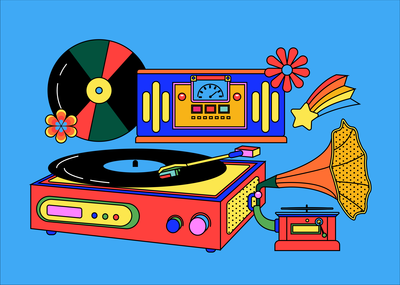 [单独购买] 13款潮流炫彩复古撞色孟菲斯几何插图插画AI设计素材 Colorful Memphis Vector Material插图8