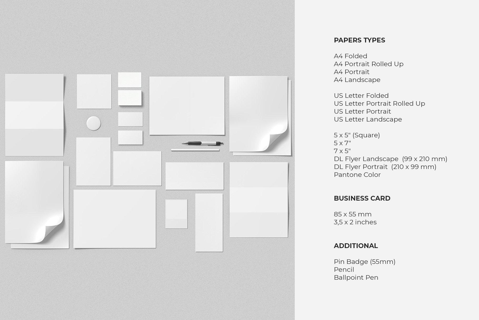 12个时尚简约品牌Logo设计办公用品展示贴图样机模板套装 Branding Mockup Scene Creator插图14