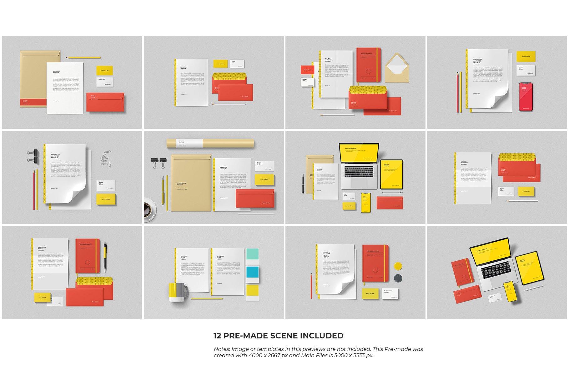 12个时尚简约品牌Logo设计办公用品展示贴图样机模板套装 Branding Mockup Scene Creator插图15