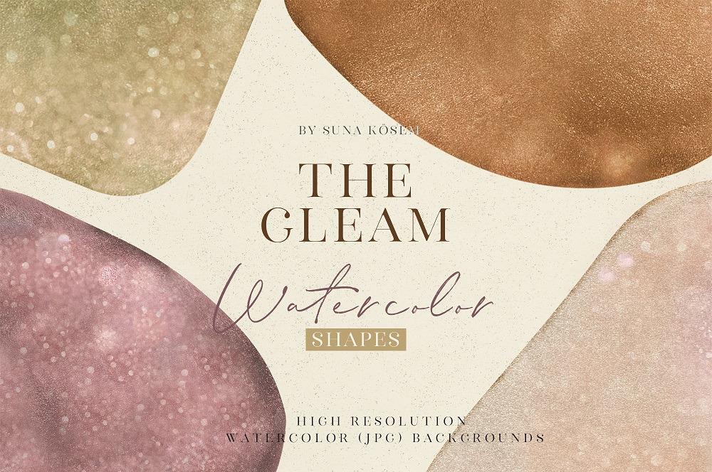 抽象闪闪发光水彩背景图片设计素材 The Gleam Watercolor Shapes插图