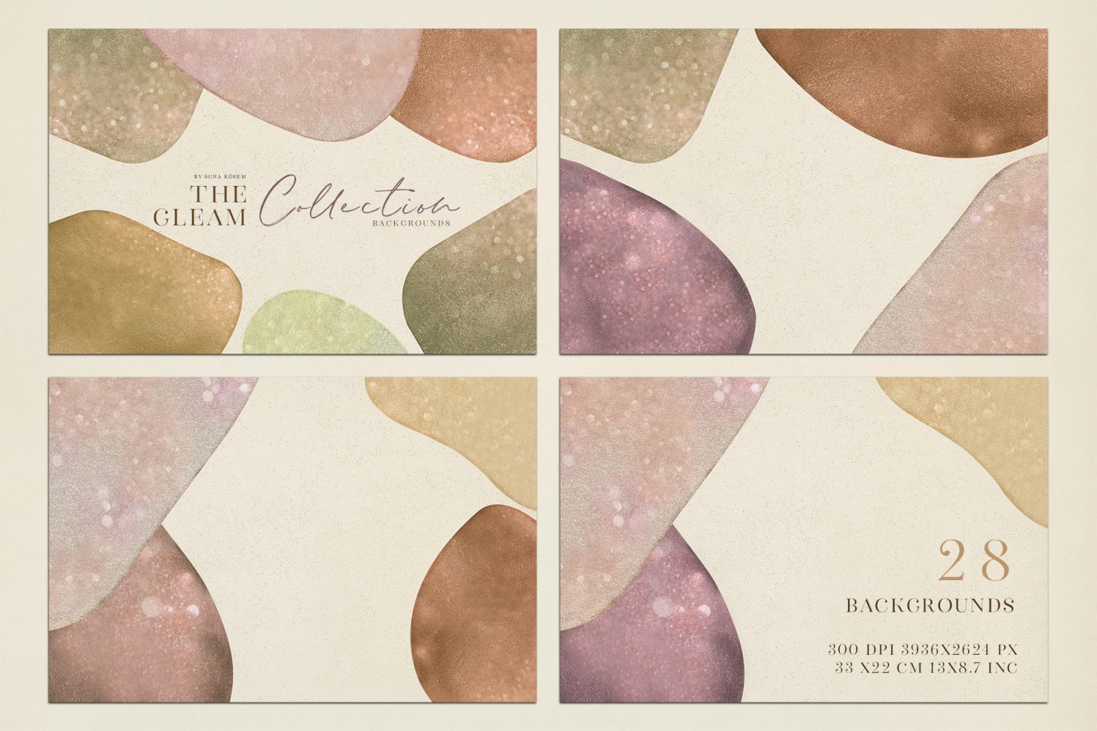 抽象闪闪发光水彩背景图片设计素材 The Gleam Watercolor Shapes插图4