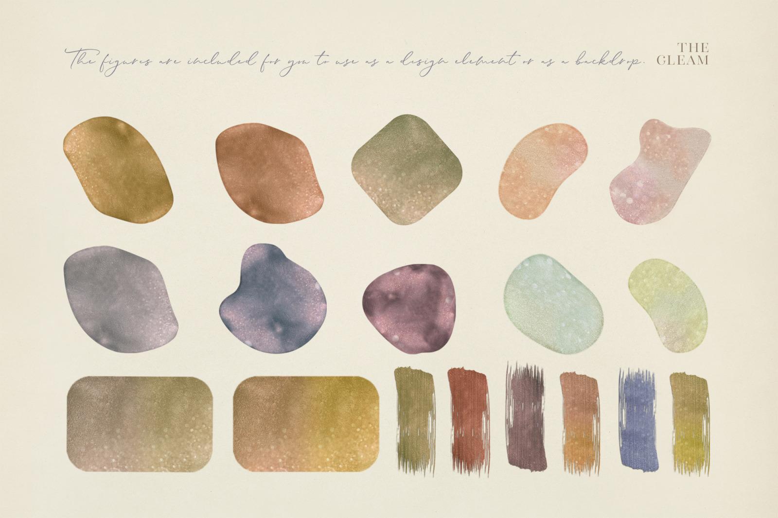 抽象闪闪发光水彩背景图片设计素材 The Gleam Watercolor Shapes插图11