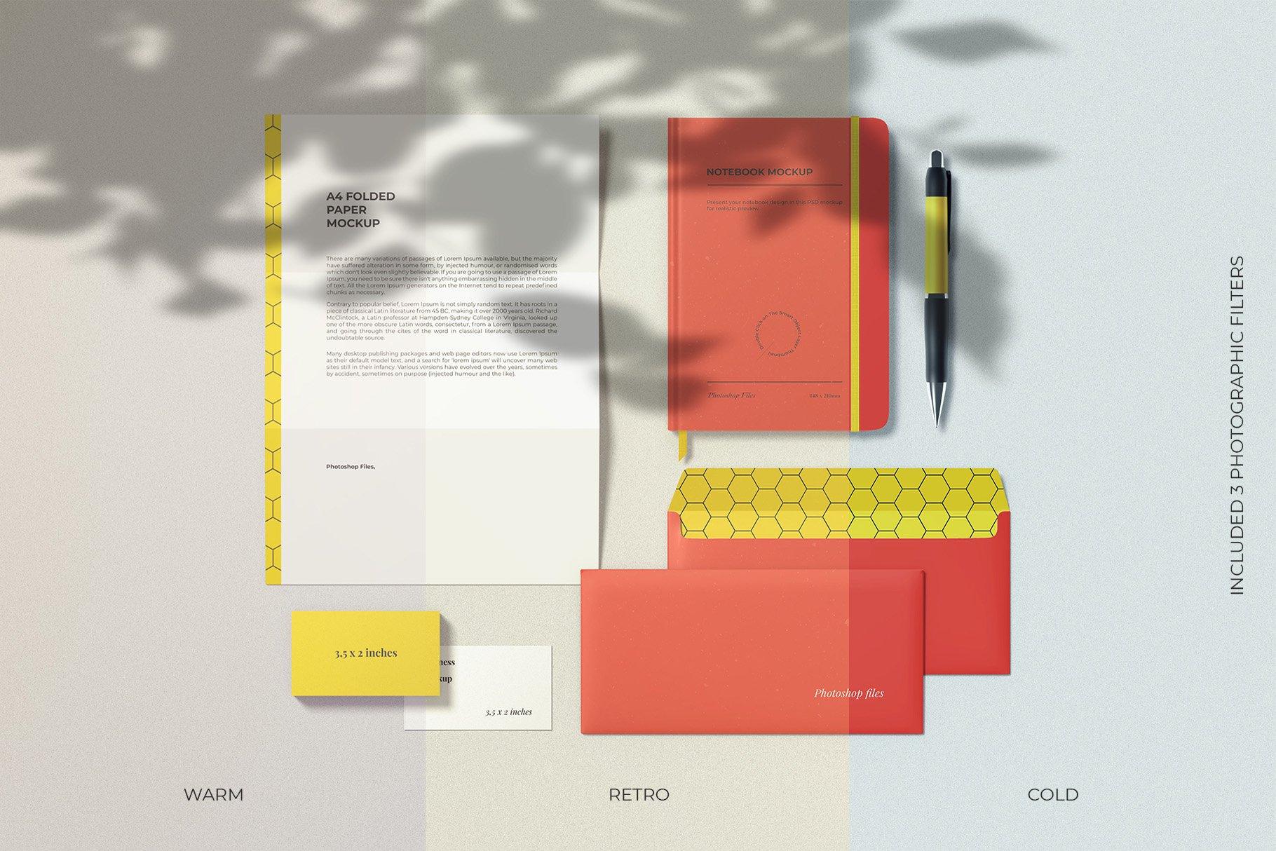 12个时尚简约品牌Logo设计办公用品展示贴图样机模板套装 Branding Mockup Scene Creator插图17