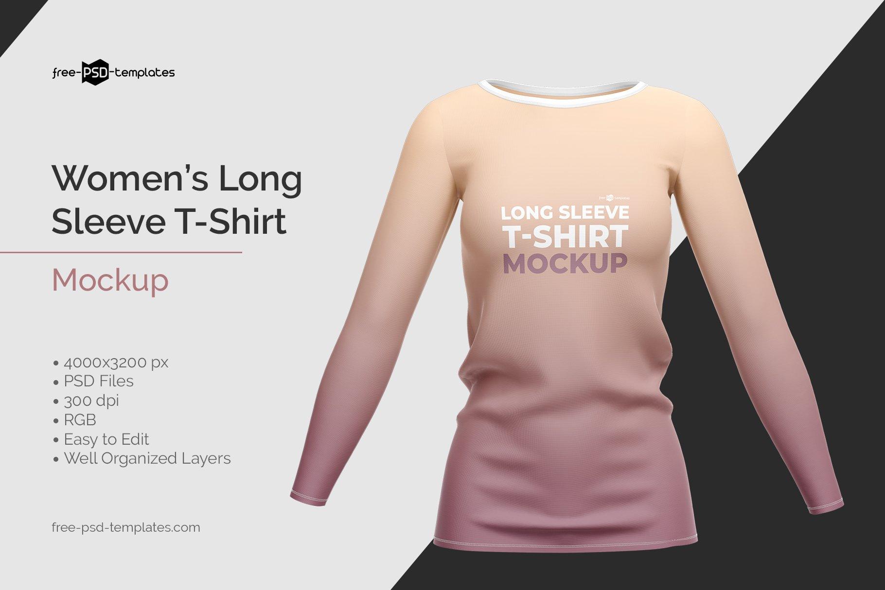 女士长袖圆领T恤设计展示贴图样机模板 Womens Long Sleeve T-Shirt插图
