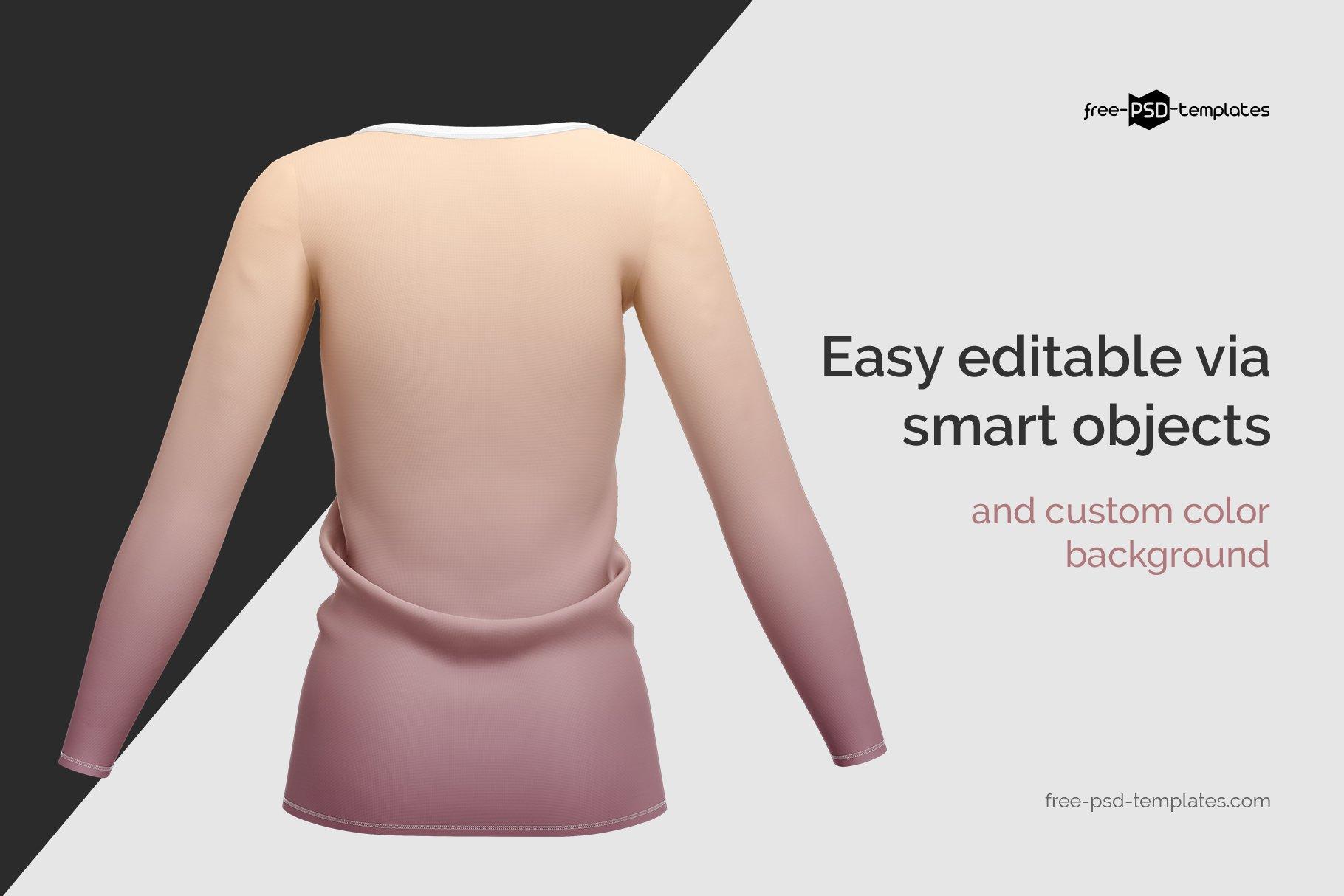 女士长袖圆领T恤设计展示贴图样机模板 Womens Long Sleeve T-Shirt插图1