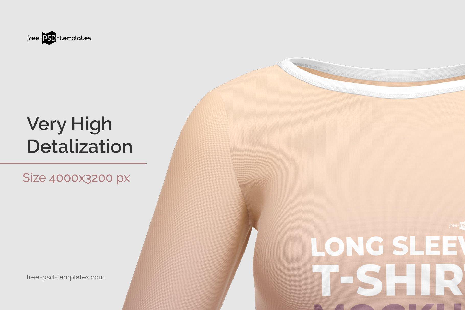 女士长袖圆领T恤设计展示贴图样机模板 Womens Long Sleeve T-Shirt插图2