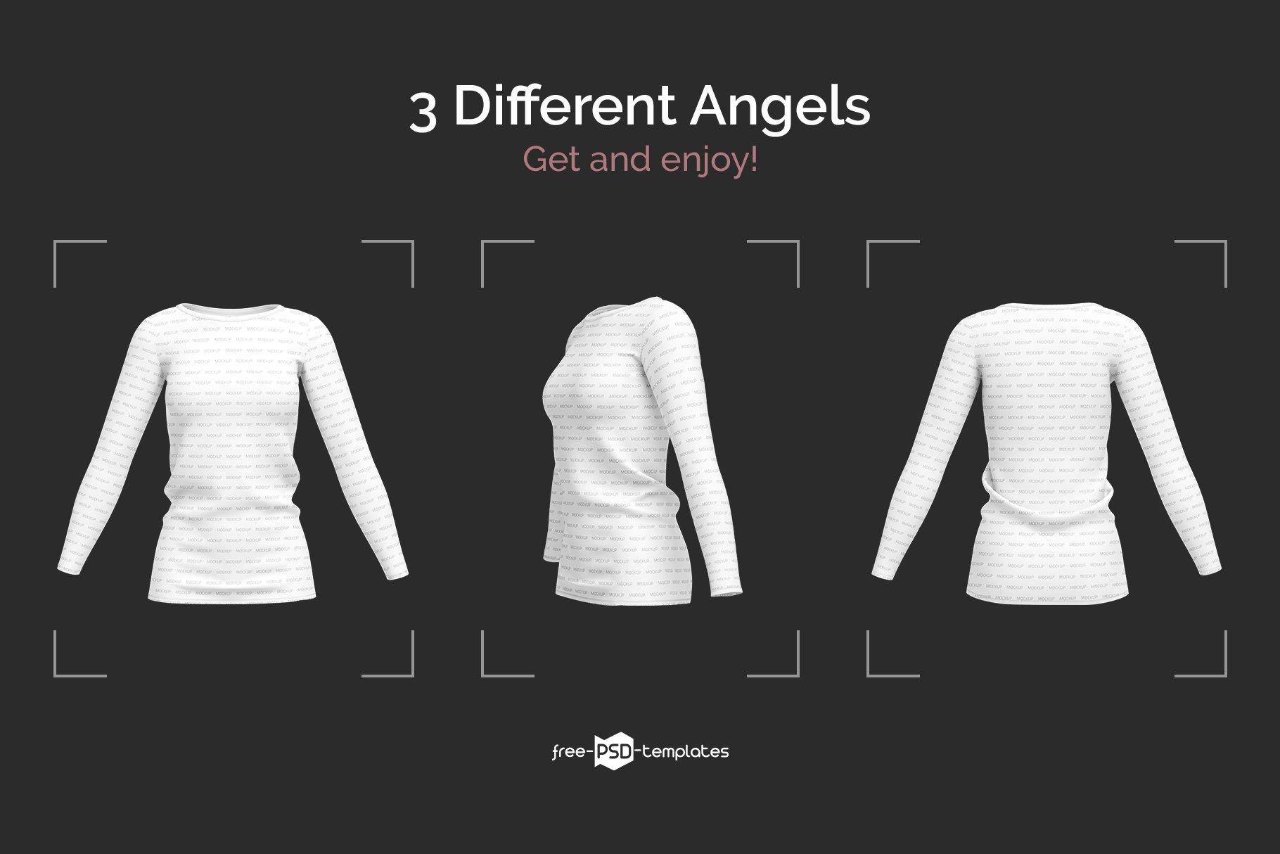 女士长袖圆领T恤设计展示贴图样机模板 Womens Long Sleeve T-Shirt插图3