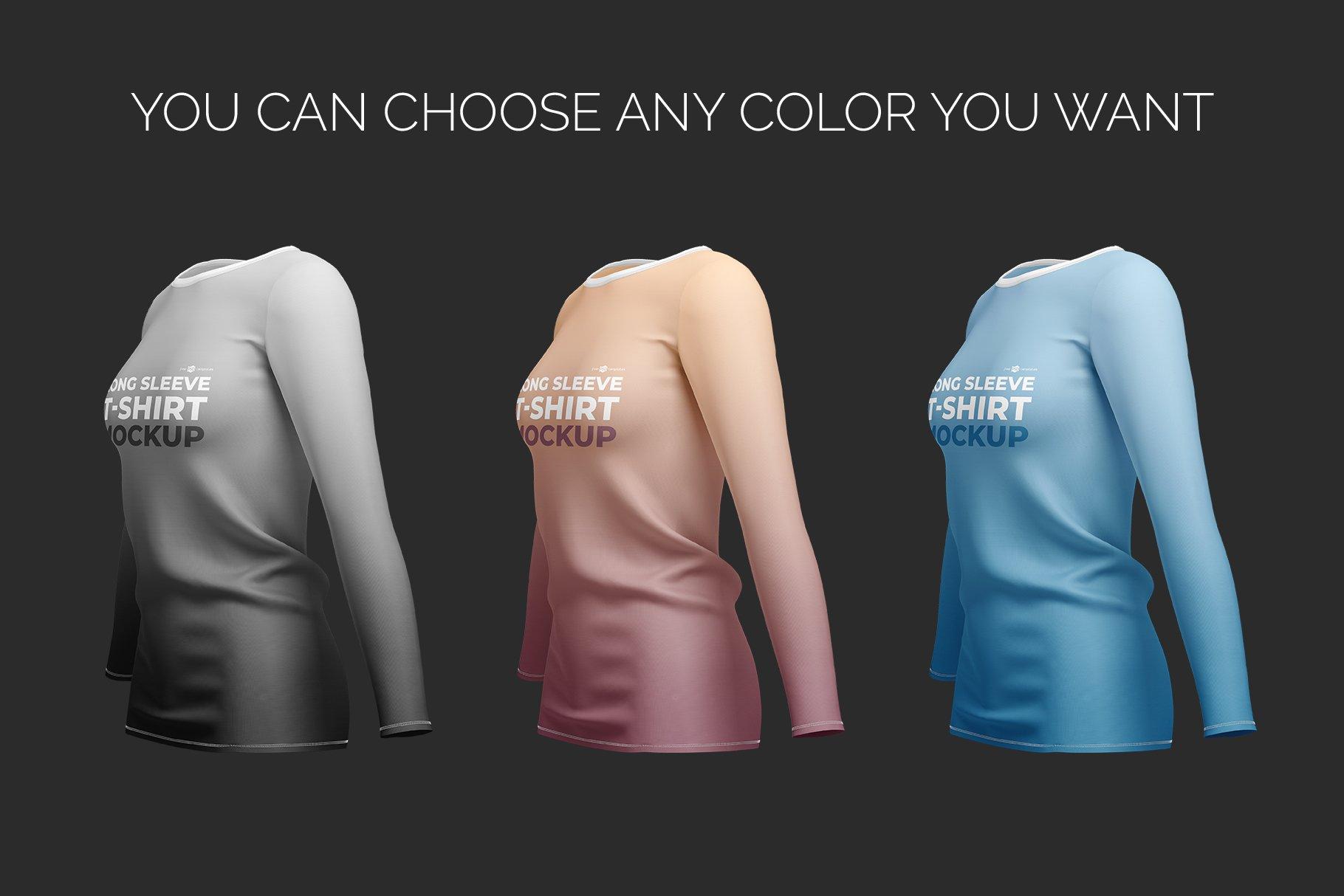 女士长袖圆领T恤设计展示贴图样机模板 Womens Long Sleeve T-Shirt插图4