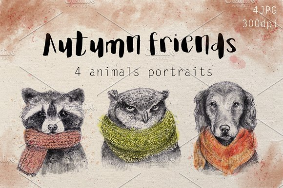 500多款可爱卡通动物花卉手绘水彩画设计素材 500+ENTIRE SHOP BUNDLE Watercolors插图18