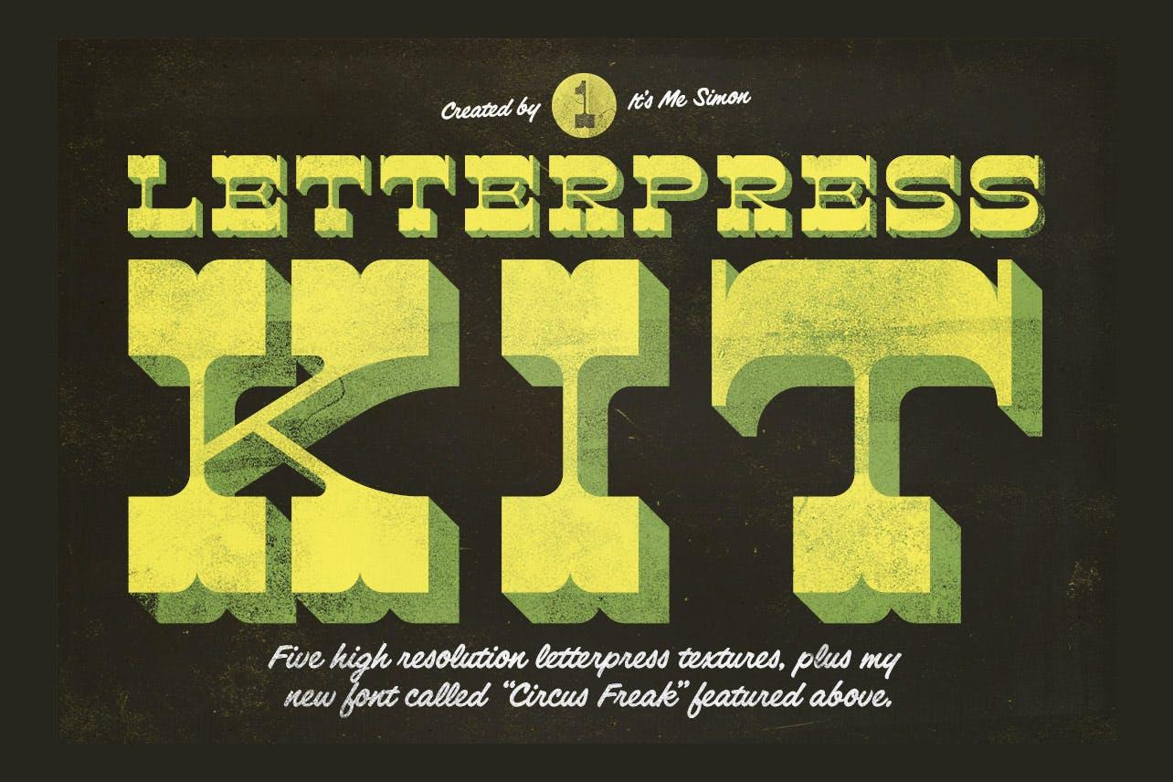 5款复古凸版印刷效果墨水纹理背景图片素材 Letterpress Kit 1插图