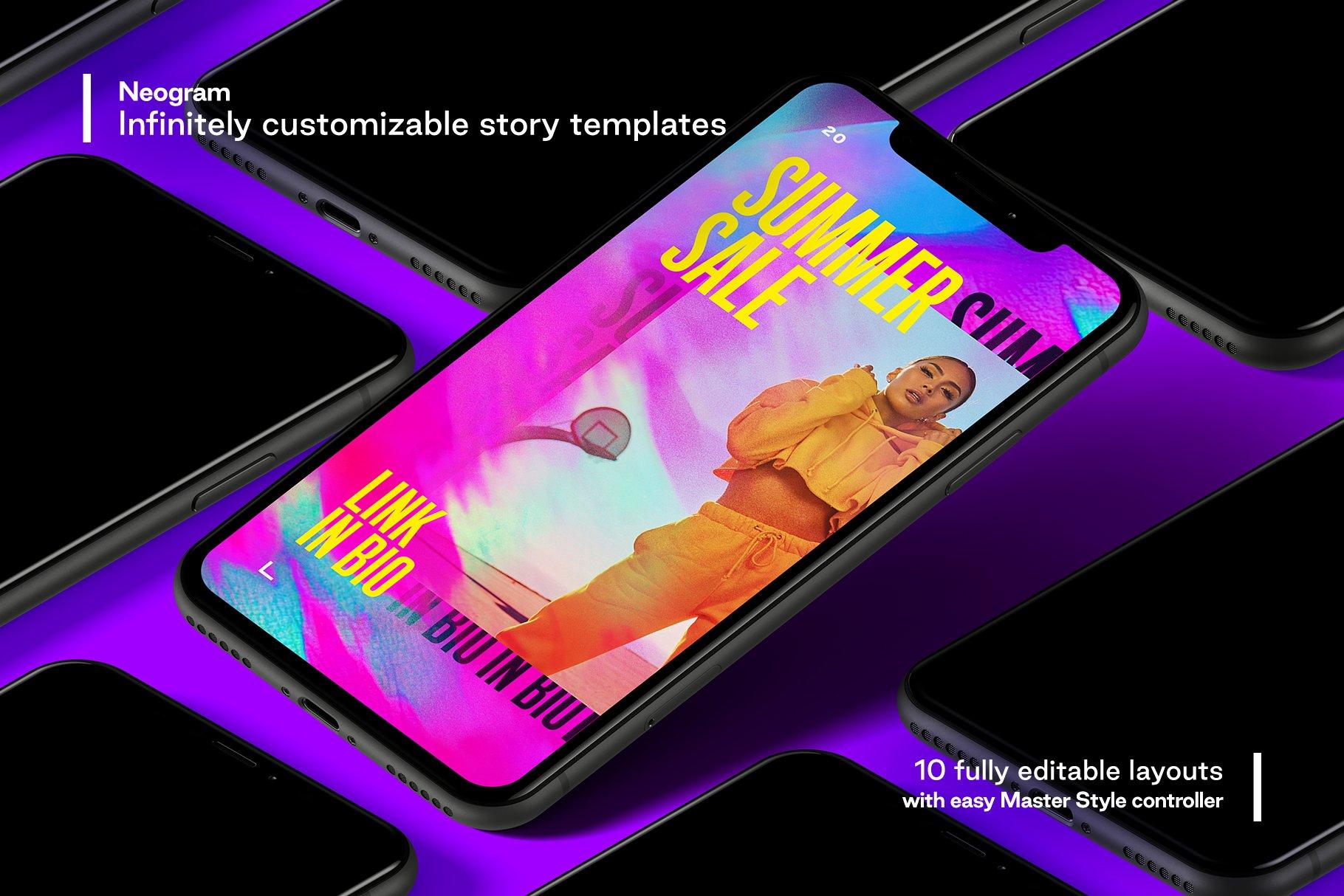 [单独购买] 潮流霓虹效果品牌推广新媒体电商海报设计模板PS素材 Neogram – Neon Instagram Stories插图1