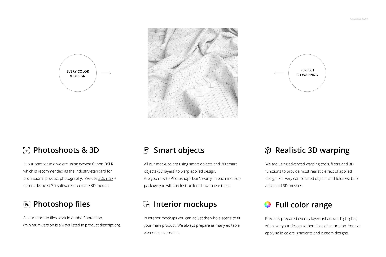 时尚棉料布印花图案设计展示样机合集 Cotton Closeup Mockup Set插图1